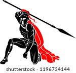 spartan kneeling with sharp... | Shutterstock .eps vector #1196734144