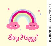 cute and adorable rainbow... | Shutterstock .eps vector #1196749744