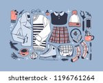 hand drawn fashion illustration.... | Shutterstock .eps vector #1196761264
