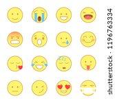 set of emoji stickers. emotion... | Shutterstock .eps vector #1196763334