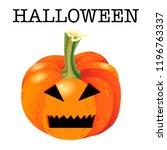 scary halloween pumpkin face... | Shutterstock .eps vector #1196763337