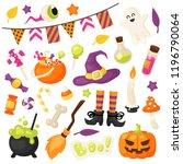 vector set of halloween design... | Shutterstock .eps vector #1196790064