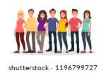 group of happy people in casual ... | Shutterstock .eps vector #1196799727