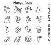 mango icon set in thin line... | Shutterstock .eps vector #1196801647
