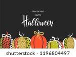 happy halloween. poster with... | Shutterstock .eps vector #1196804497