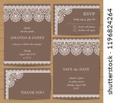 set of wedding cards with... | Shutterstock .eps vector #1196824264