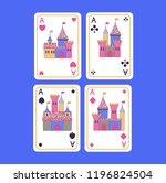 playing cards set of aces in... | Shutterstock .eps vector #1196824504