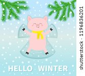 hello winter. pig laying on... | Shutterstock .eps vector #1196836201