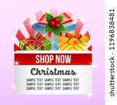 christmas shop theme with gift... | Shutterstock .eps vector #1196838481