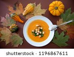 pumpkin soup on colorful autumn ... | Shutterstock . vector #1196867611