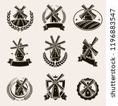 mill label and icons set. vector | Shutterstock .eps vector #1196883547