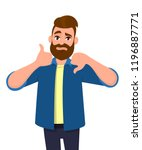 bearded man showing thumbs up... | Shutterstock .eps vector #1196887771