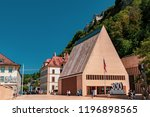 Vaduz, Liechtenstein, 16th August 2018:- The Landtag or Parliament of Liechtenstein in the capital city of Vaduz - stock photo