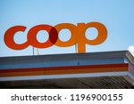 Vaduz,Liechtenstein, 16th August 2018:- The logo of the COOP group on a petrol station between Vaduz and Schaan in Liechtenstein. - stock photo
