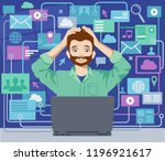 man under pressure overwhelmed... | Shutterstock .eps vector #1196921617