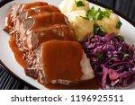 festive german full dinner... | Shutterstock . vector #1196925511