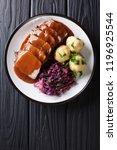 festive german full dinner... | Shutterstock . vector #1196925544