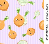cute kawaii bulbs of onions... | Shutterstock .eps vector #1196925691