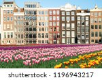 netherlands tulips and facades... | Shutterstock . vector #1196943217