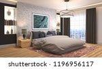 bedroom interior. 3d... | Shutterstock . vector #1196956117
