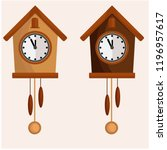 clock set with pendulum and... | Shutterstock .eps vector #1196957617