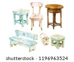 set of different chairs and... | Shutterstock . vector #1196963524