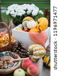 autumn festival decoration with ... | Shutterstock . vector #1196971477