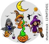 happy halloween night and... | Shutterstock . vector #1196972431