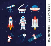 space equipment set for you... | Shutterstock .eps vector #1196976934