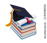 cap and diploma on top of stack ... | Shutterstock . vector #119698054