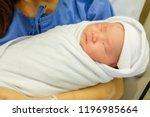 newborn baby sleeps comfortably ... | Shutterstock . vector #1196985664