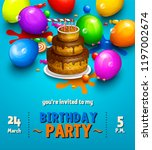 birthday party invitation card. ... | Shutterstock .eps vector #1197002674