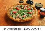 tasty pizza on a rusty... | Shutterstock . vector #1197009754