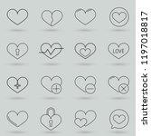 premium set of heart line icons.... | Shutterstock .eps vector #1197018817