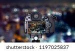 digital camera over tripod on... | Shutterstock . vector #1197025837