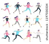 running people. man and woman... | Shutterstock .eps vector #1197030334