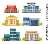 flat city buildings.... | Shutterstock .eps vector #1197030391