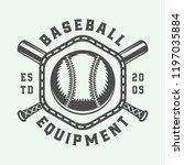 vintage baseball sport logo ...   Shutterstock .eps vector #1197035884