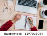 woman hands with pen writing... | Shutterstock . vector #1197039064