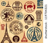 travel stamps. travel icons set.... | Shutterstock .eps vector #119704321