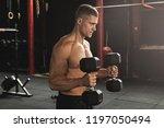 young handsome bodybuilder... | Shutterstock . vector #1197050494