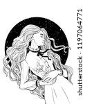 beautiful girl sleeping. vector ...   Shutterstock .eps vector #1197064771