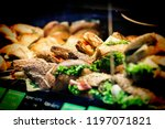street food. burgers and... | Shutterstock . vector #1197071821