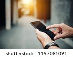 close up of man using his... | Shutterstock . vector #1197081091