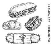 hand drawn sketch sanwiches set.... | Shutterstock .eps vector #1197084964