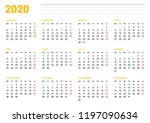calendar template for 2020 year.... | Shutterstock .eps vector #1197090634