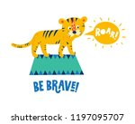 illustration of a circus tiger... | Shutterstock .eps vector #1197095707