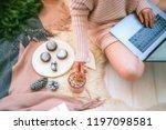 woman's hands typing on laptop... | Shutterstock . vector #1197098581