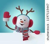 3d render  christmas snowman...   Shutterstock . vector #1197115447