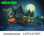 happy halloween background  ... | Shutterstock .eps vector #1197117397